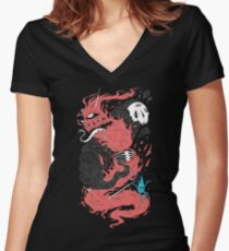 Death Of The Fire Demon Women's Fitted V-Neck T-Shirt