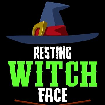 Resting Witch Face Broomstick Hat Spooky Halloween by BUBLTEES