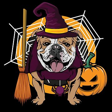 Witch Bulldog Dog Costume For Spooky Halloween by BUBLTEES