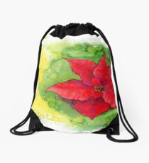 Pointsettia christmas card watercolor painting Drawstring Bag