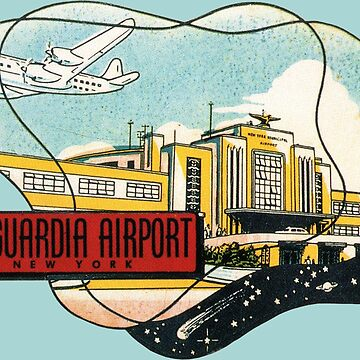 La Guardia Airport New York Vintage Travel Decal by hilda74
