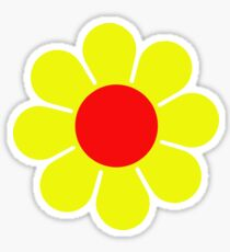 Yellow Red Hippie Flower Daisy Sticker