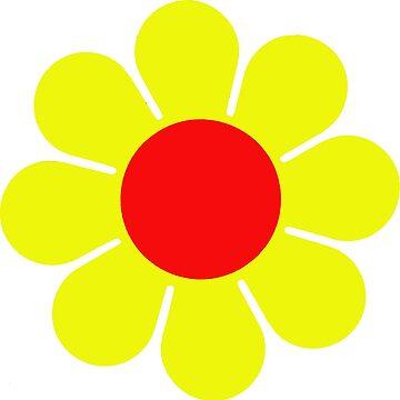 Yellow Red Hippie Flower Daisy by hilda74