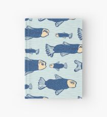 Blue Shoal of Fish, Seamless Seaweed Animal Vector Pattern Background Hardcover Journal