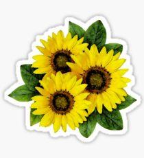 Gemalter Sonnenblume-Blumenstrauß Sticker