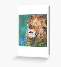 A Lion and a Butterfly Greeting Card