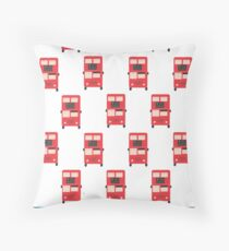Red Double Decker Bus - Vintage London, England, UK Throw Pillow