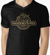 Manderly's Pies (in tan) Mens V-Neck T-Shirt