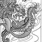 Meerjungfrau mit Angler Fisch und Seepferdchen von missdaisydee