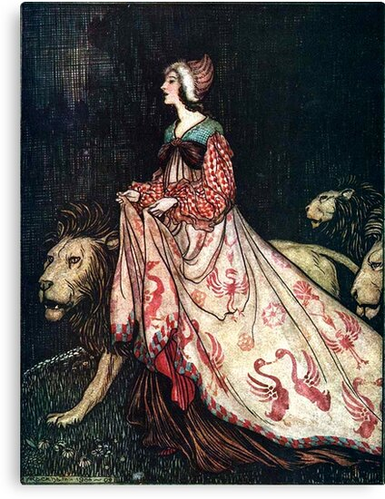 The Lady and the Lion - Brothers Grimm - Arthur Rackham  by forgottenbeauty