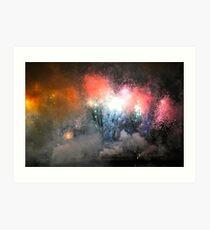 A Rainbow Of Fireworks Explode Through The Sky! Art Print