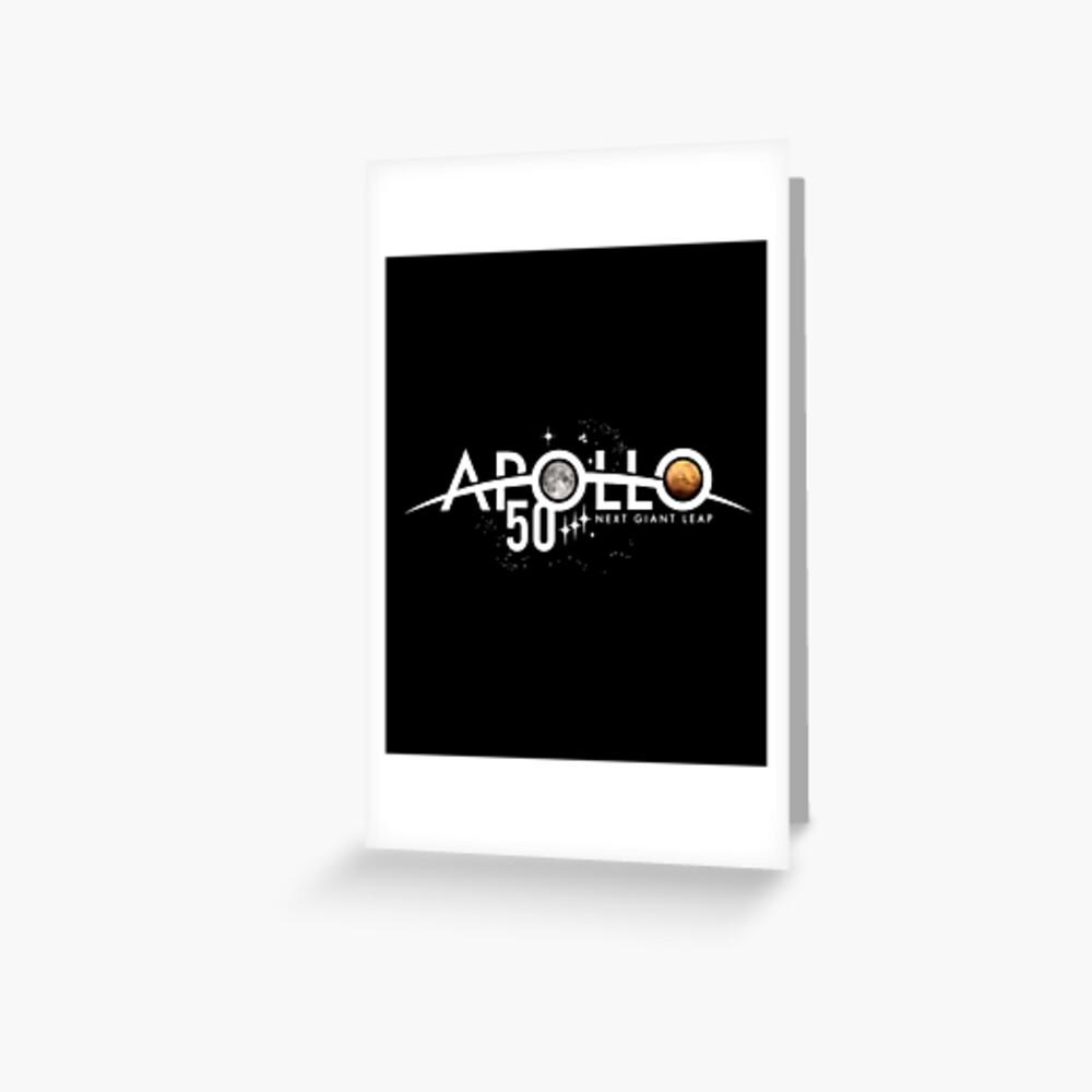 Apollo 50th Anniversary Logo - Nächster Riesensprung - Zuerst der Mond, nächster Mars! Grußkarte