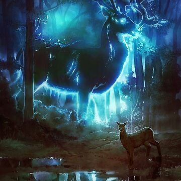 Spectral Stag - Ghostly Glowing Spirit of the Forest Giant Deer by ghostfire
