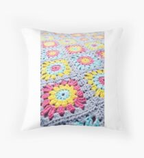 Crochet Granny Squares by Abbeymade as seen in Indie Road magazine Throw Pillow