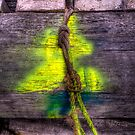 A Bit Of Old Rope With Bright Yellow Paint by Jeff Catford