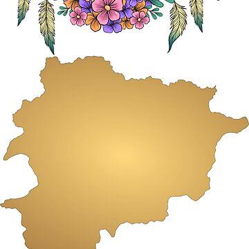 Andorra Map Boho by tanabe