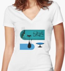 Mid Century Modern Cat Women's Fitted V-Neck T-Shirt