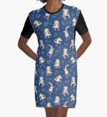 To the Maxolotl - Blue & Violet Graphic T-Shirt Dress