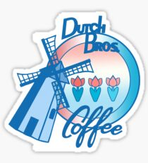 Windmill Dutch bros coffee with tulips  Sticker