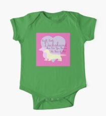 """""""Small, Little Dachshund How Did You Become the Boss of Me?"""" Doxie Weenie Dog Pink Purple Girly Girlie Silhouette  One Piece - Short Sleeve"""
