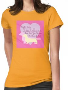 """""""Small, Little Dachshund How Did You Become the Boss of Me?"""" Doxie Weenie Dog Pink Purple Girly Girlie Silhouette  Womens Fitted T-Shirt"""