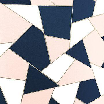 Navy Blue Blush White Gold Geometric Glam #1 #geo #decor #art by anitabellajantz