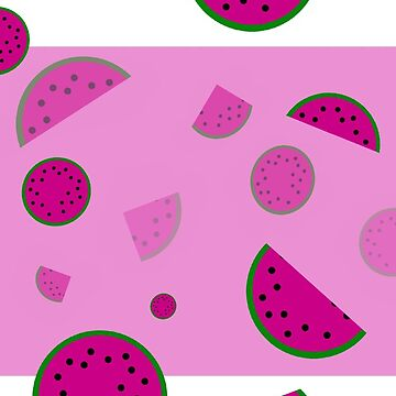 Watermelon pattern on squares in pink and black by M-Lorentsson