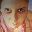 Self portrait, watercolor on paper by Sandrine Pelissier