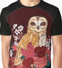 Owl Floral Eclipse Graphic T-Shirt
