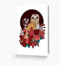 Owl Floral Eclipse Greeting Card