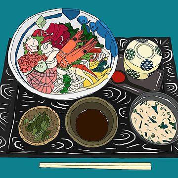 Japanese Seafood Chirashi Platter by m-lapino