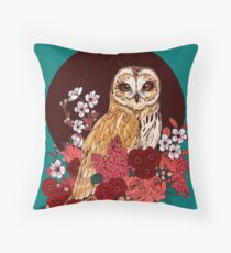Owl Floral Eclipse Throw Pillow