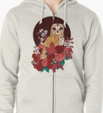 Owl Floral Eclipse Zipped Hoodie