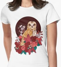 Owl Floral Eclipse Women's Fitted T-Shirt