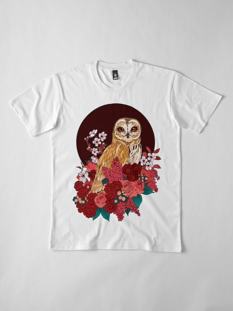 Alternate view of Owl Floral Eclipse Premium T-Shirt