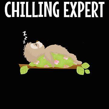 Funny Sloth Sleeping Chilling Expert  by VaSkoy