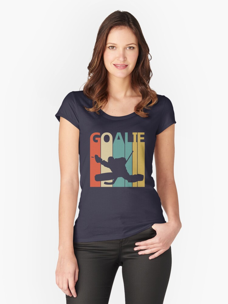 Vintage Retro Goalie Women's Fitted Scoop T-Shirt Front