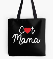 Cute Cat Mama T-Shirt With A Red Heart Tote Bag