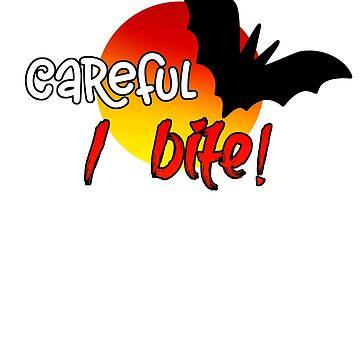 Spooky Bat Halloween Design Careful I Bite by IvonDesign