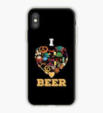 "Funny Oktoberfest ""I Love Beer"" Heart Wurst Pretzel  iPhone Case"