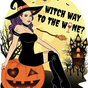 Witch Way To The Wine Halloween Wine by ZNOVANNA