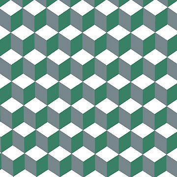 Diamond Repeating Pattern In Quetzal Green and Grey by taiche