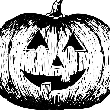 Halloween Pumpkin Black White by MartinV96