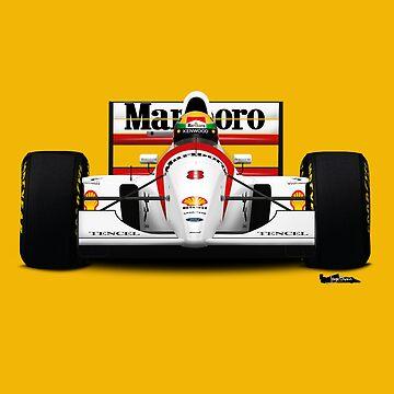 Formula 1 - Ayrton Senna - McLaren MP4/8 - Front view 4 by JageOwen