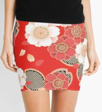 Vintage Japanese Wedding Kimono Pattern Mini Skirt