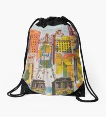 San Francisco Retro Vintage Travel Poster Drawstring Bag