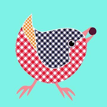 Gingham Bird  by miniverdesigns