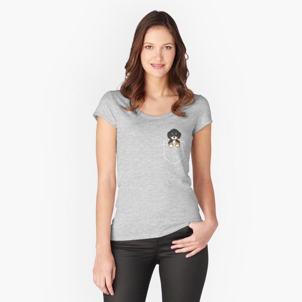 Bernedoodle Tasche Tailliertes Rundhals-Shirt