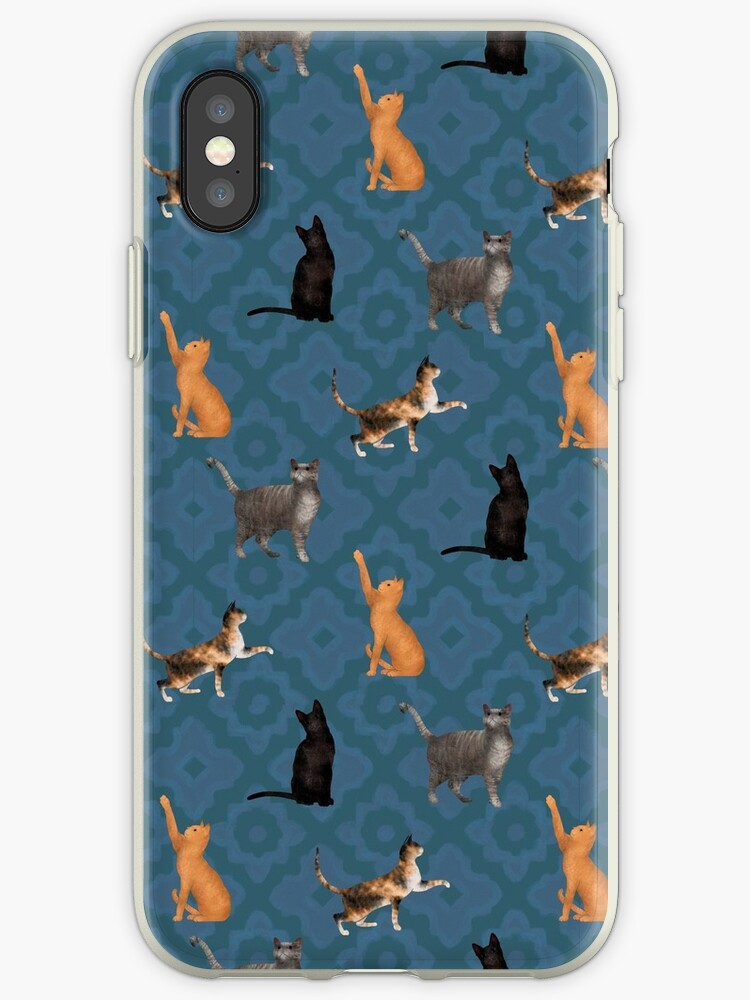 Tabby Cat Party, Deep Teal Tile  by Eleanor Rhinehart