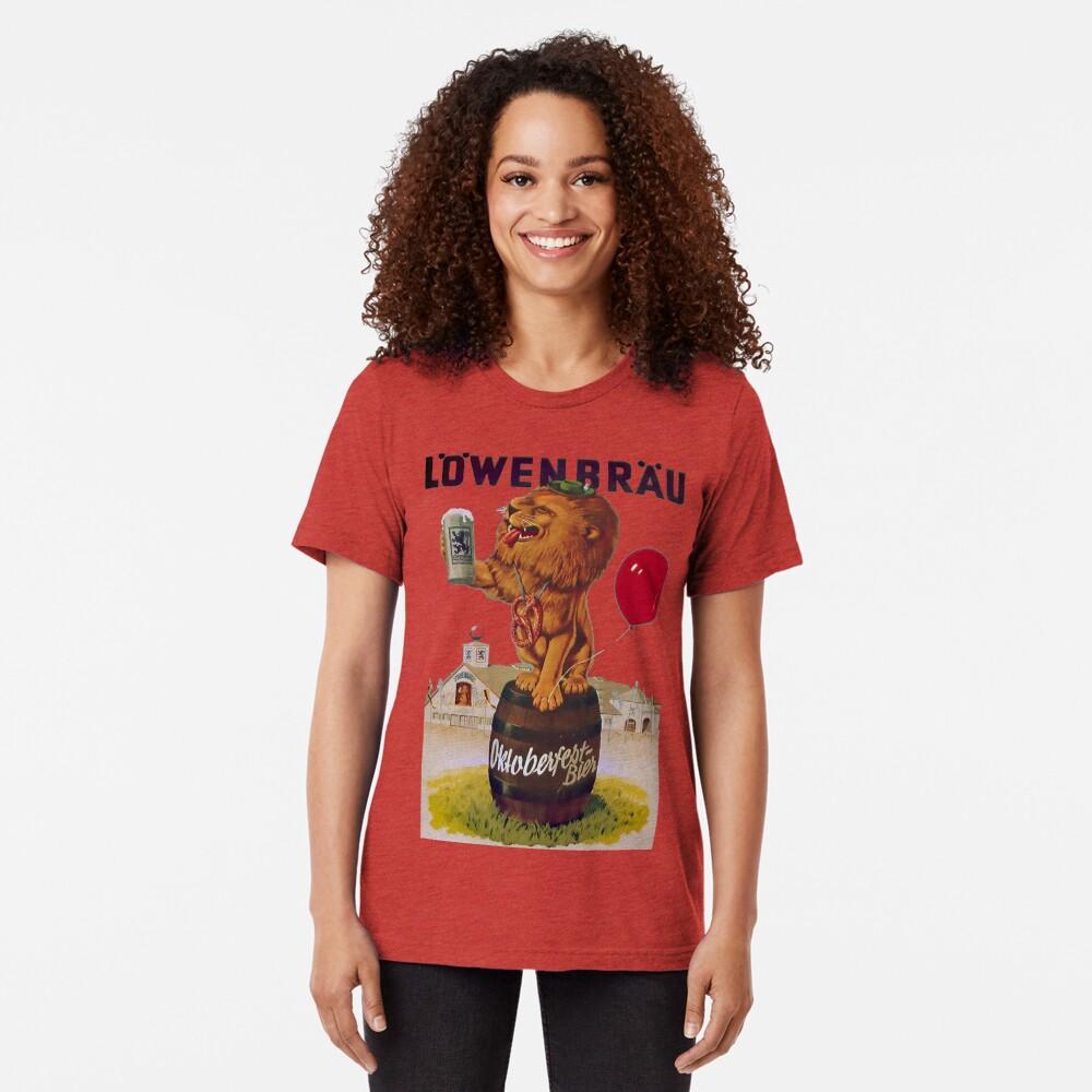 German Oktoberfest party with Lowenbrau Lion Tri-blend T-Shirt